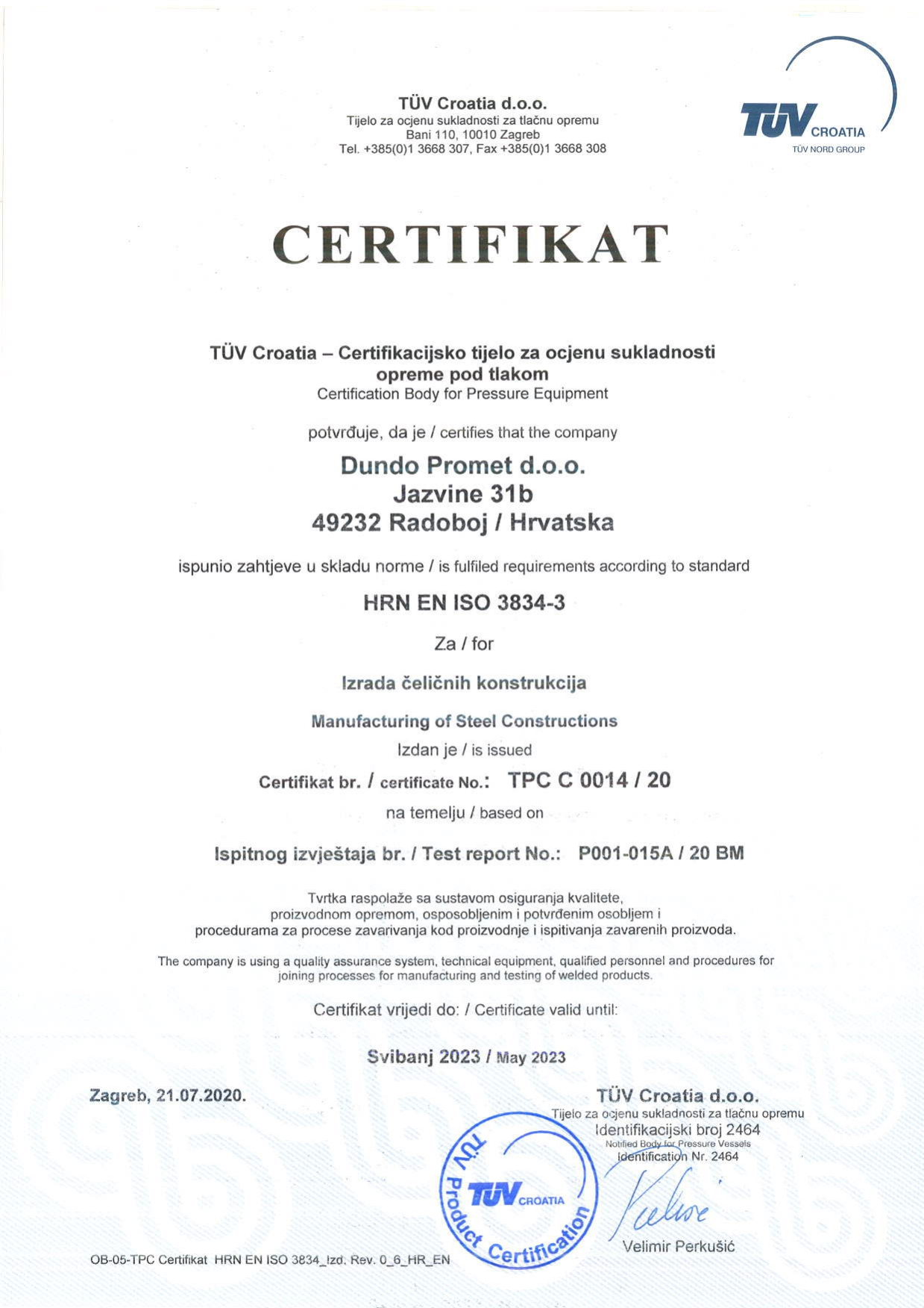 Dundo certifikat HRN EN ISO 3834 1-150