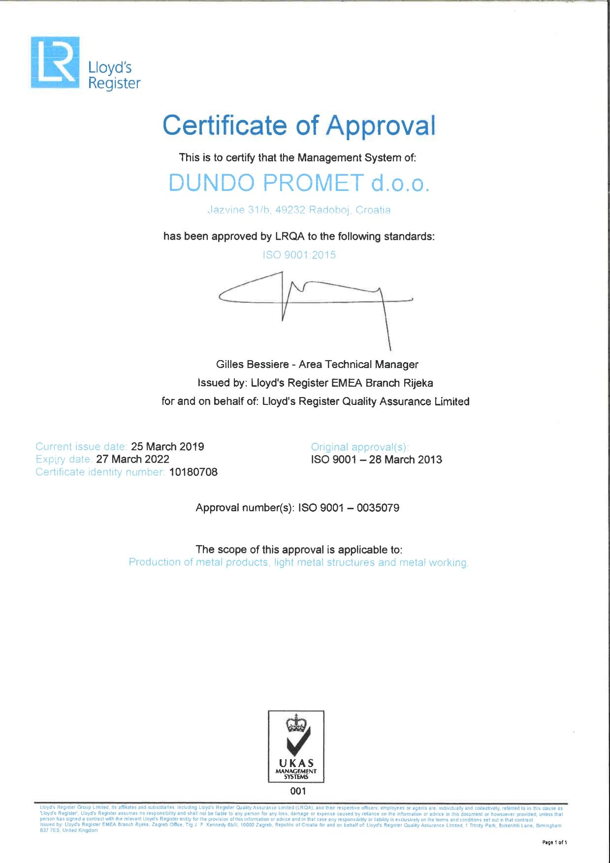 Dundo certifikat ISO 9001 EN