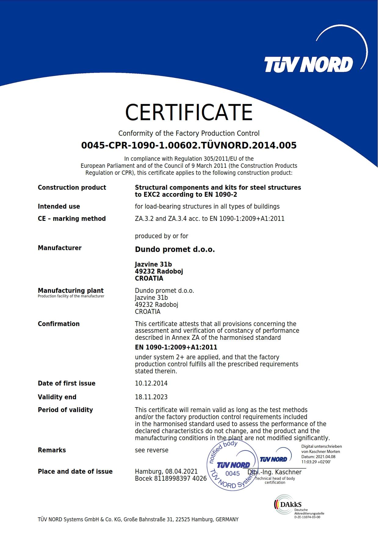 Dundo certifikat EN1090-2-p1